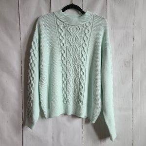 Urban outfitters mint chunky sweater cable knit